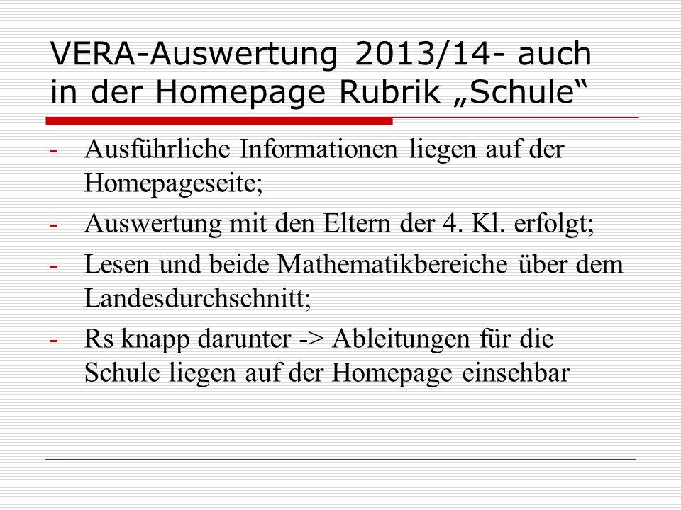 """VERA-Auswertung 2013/14- auch in der Homepage Rubrik """"Schule"""