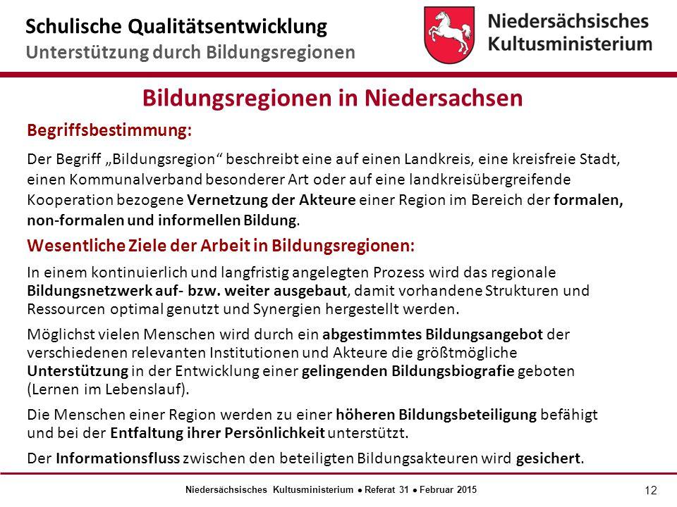 Bildungsregionen in Niedersachsen