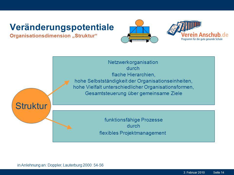 """Veränderungspotentiale Organisationsdimension """"Struktur"""