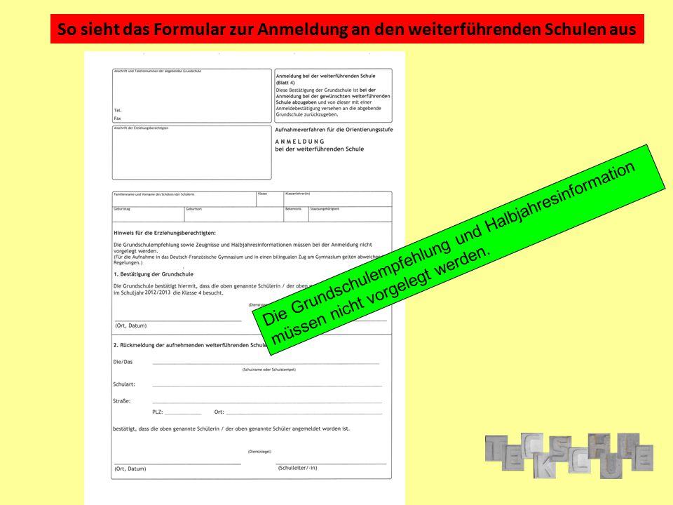 So sieht das Formular zur Anmeldung an den weiterführenden Schulen aus