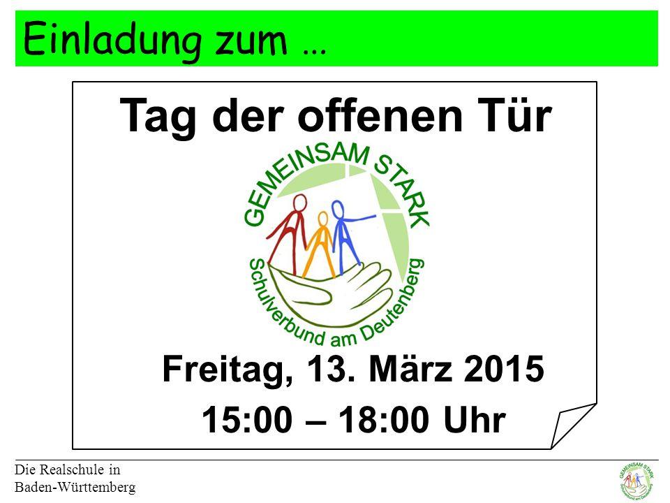 Tag der offenen Tür Einladung zum … Freitag, 13. März 2015