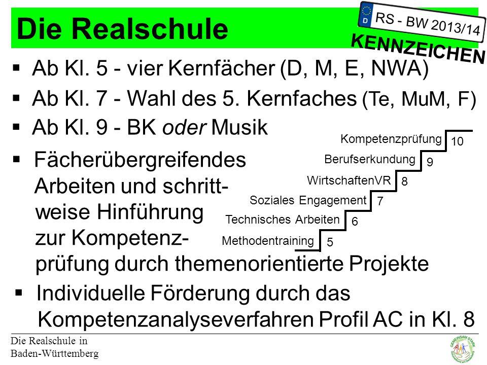 Die Realschule Ab Kl. 5 - vier Kernfächer (D, M, E, NWA)