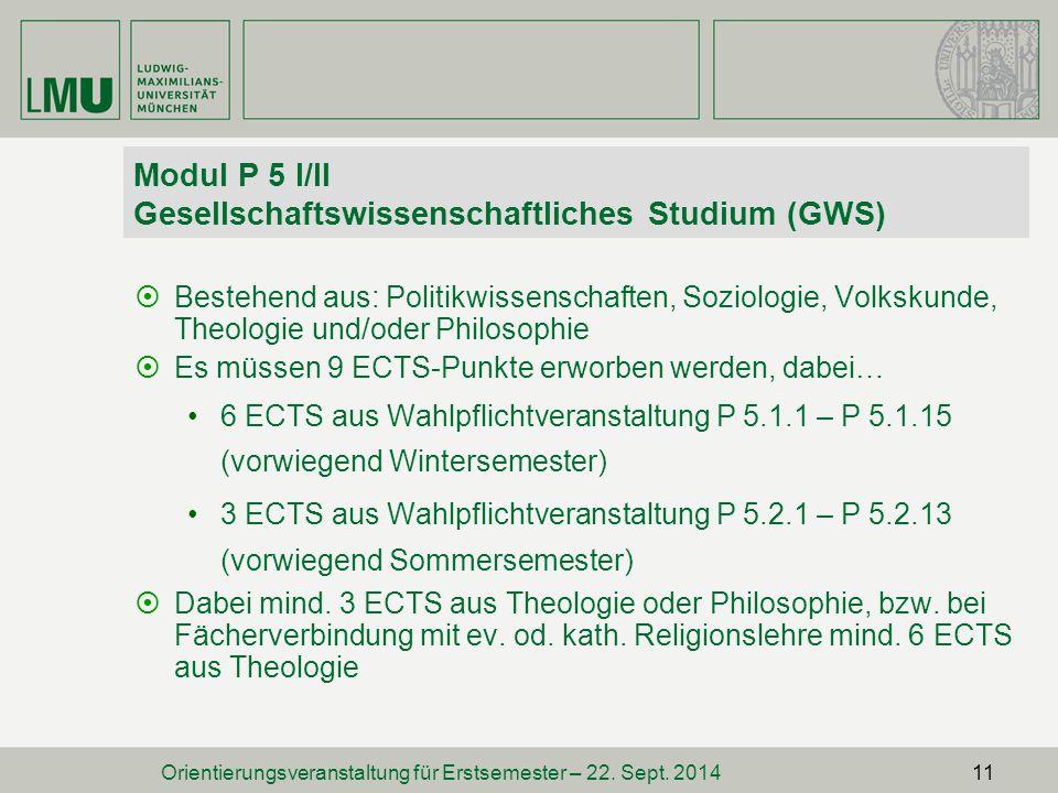 Modul P 5 I/II Gesellschaftswissenschaftliches Studium (GWS)