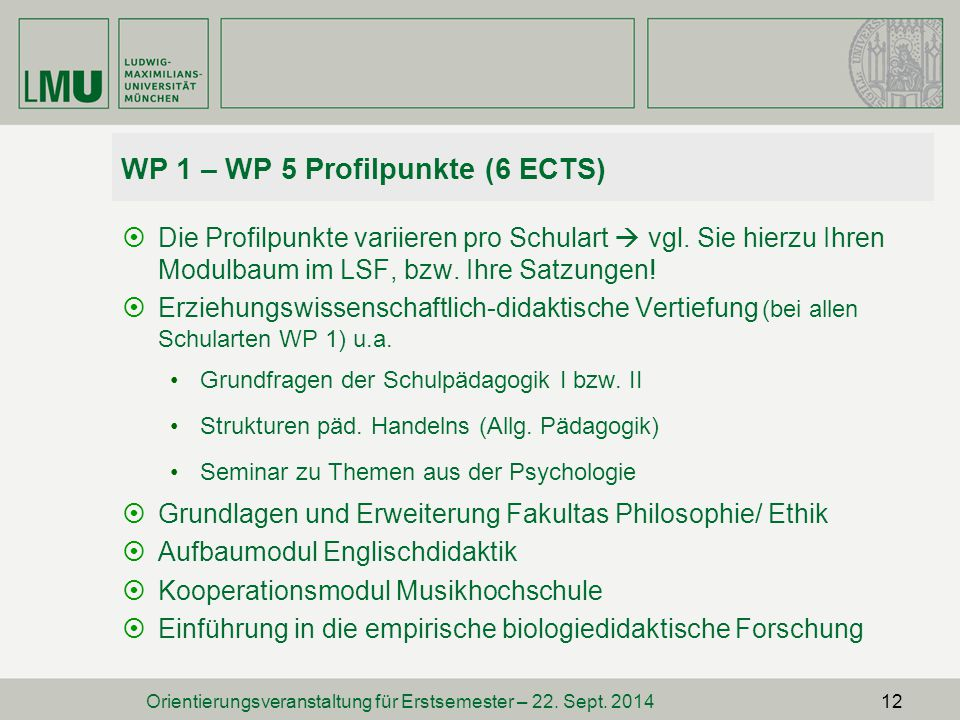 WP 1 – WP 5 Profilpunkte (6 ECTS)