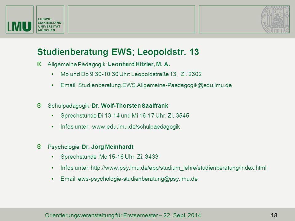 Studienberatung EWS; Leopoldstr. 13