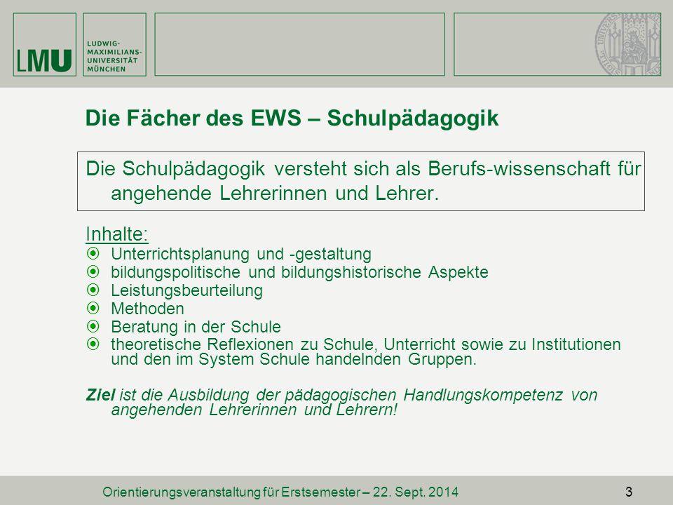 Die Fächer des EWS – Schulpädagogik
