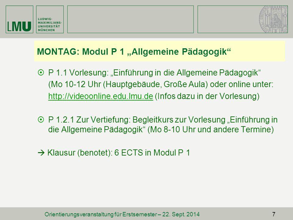 "MONTAG: Modul P 1 ""Allgemeine Pädagogik"