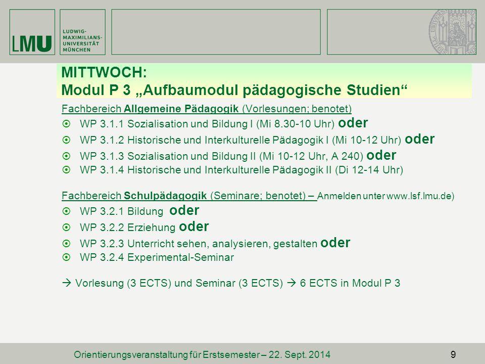 """MITTWOCH: Modul P 3 """"Aufbaumodul pädagogische Studien"""