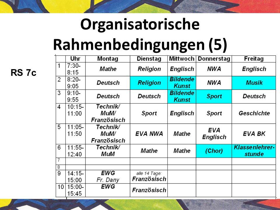 Organisatorische Rahmenbedingungen (5)
