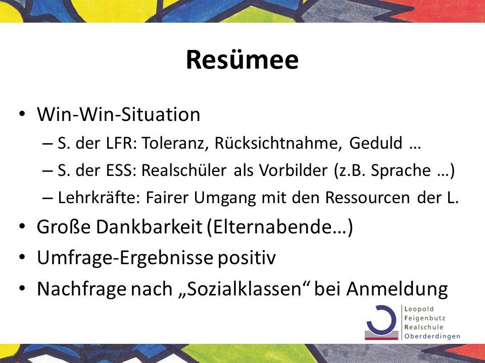 Resümee Win-Win-Situation Große Dankbarkeit (Elternabende…)