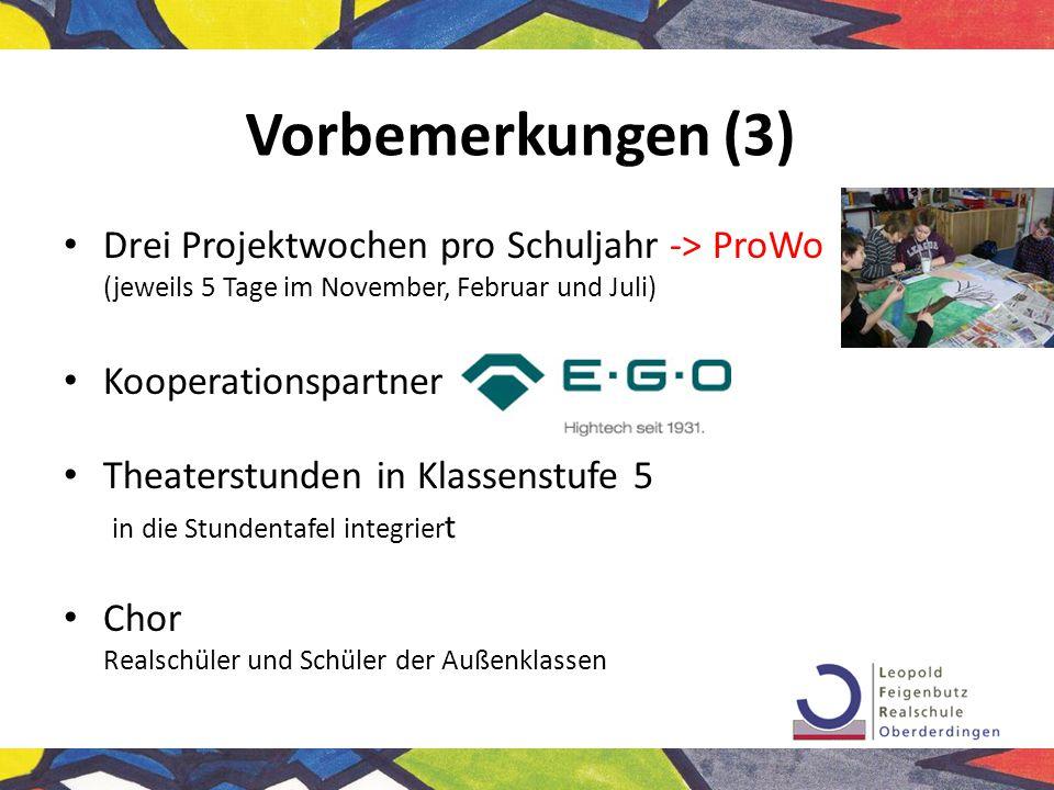 Vorbemerkungen (3) Drei Projektwochen pro Schuljahr -> ProWo (jeweils 5 Tage im November, Februar und Juli)