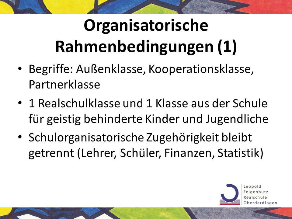 Organisatorische Rahmenbedingungen (1)