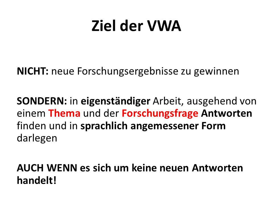 Ziel der VWA