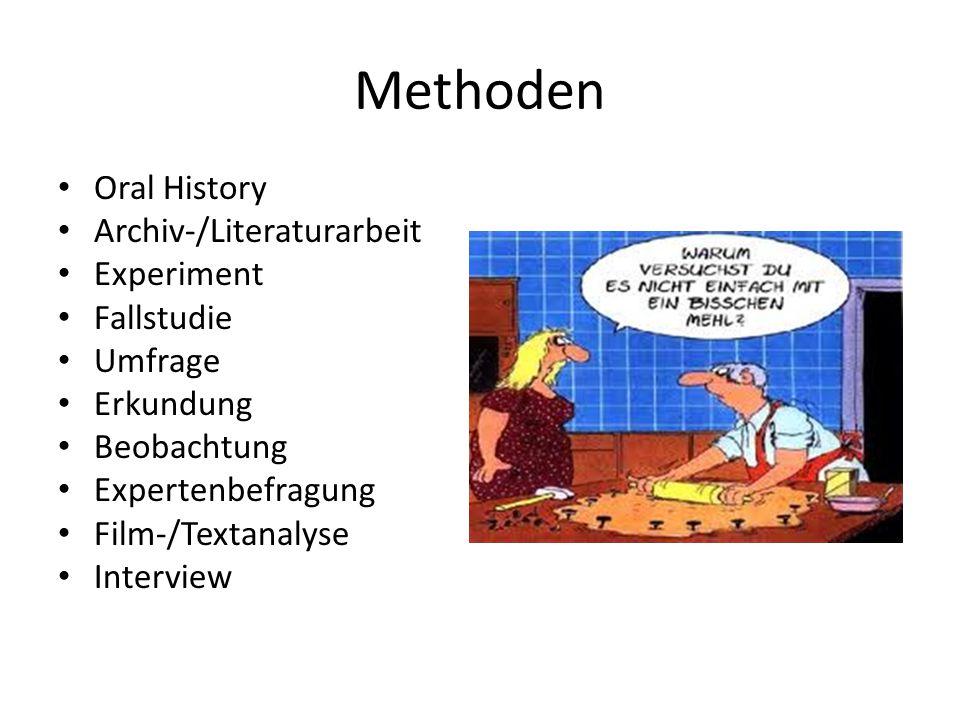 Methoden Oral History Archiv-/Literaturarbeit Experiment Fallstudie