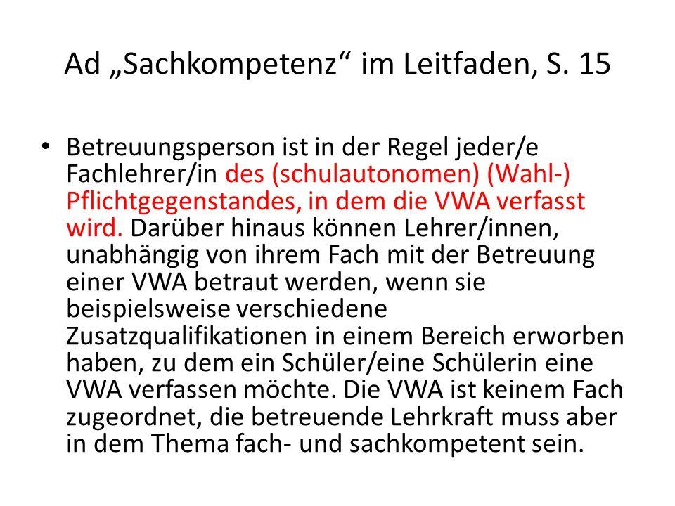 "Ad ""Sachkompetenz im Leitfaden, S. 15"