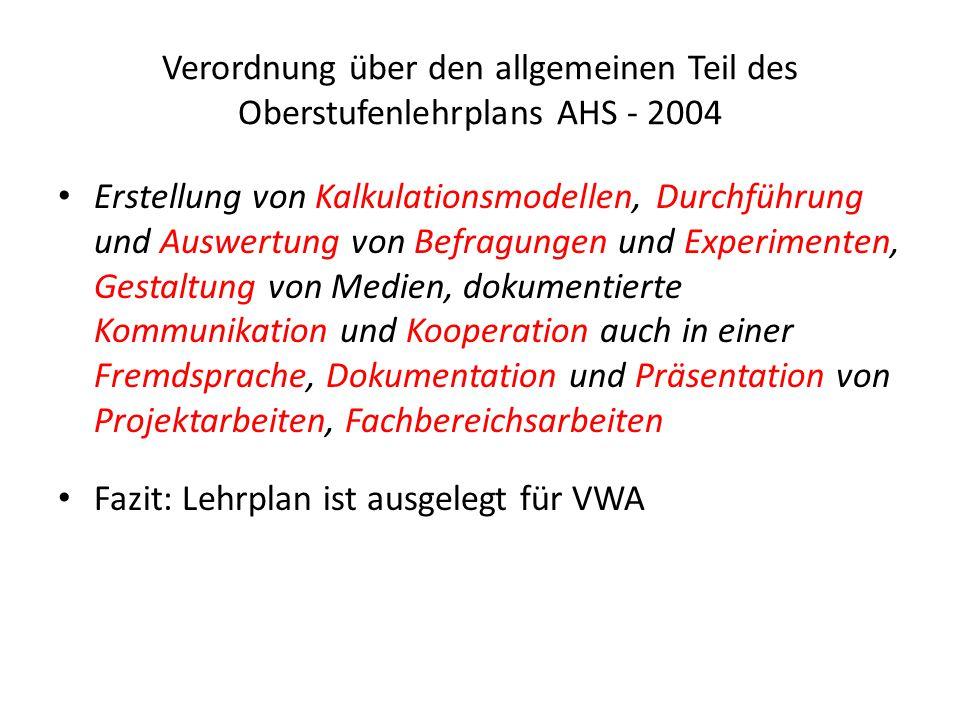 Verordnung über den allgemeinen Teil des Oberstufenlehrplans AHS - 2004