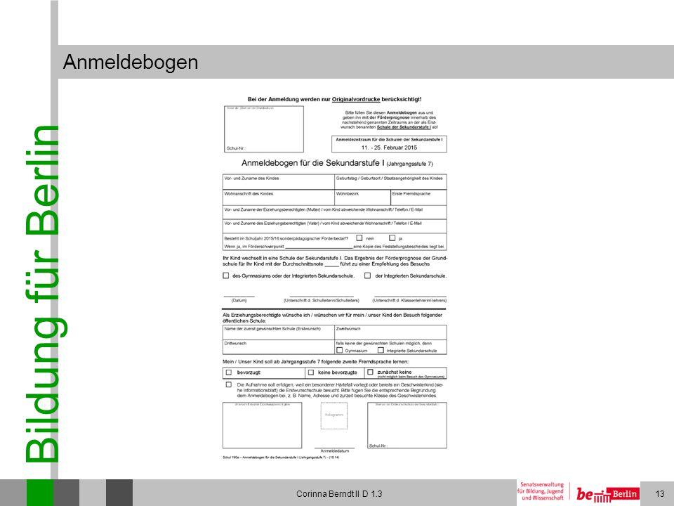 Anmeldebogen Corinna Berndt II D 1.3