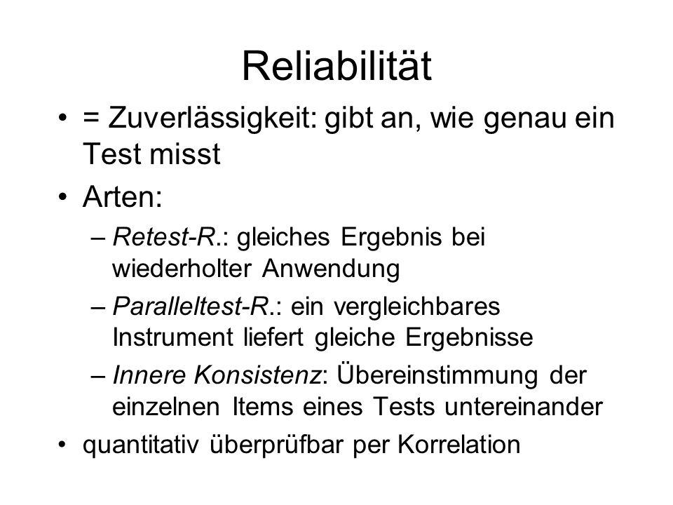 Reliabilität = Zuverlässigkeit: gibt an, wie genau ein Test misst