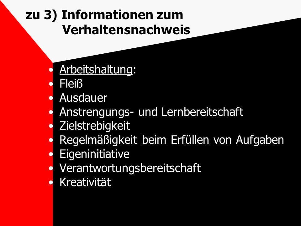 zu 3) Informationen zum Verhaltensnachweis