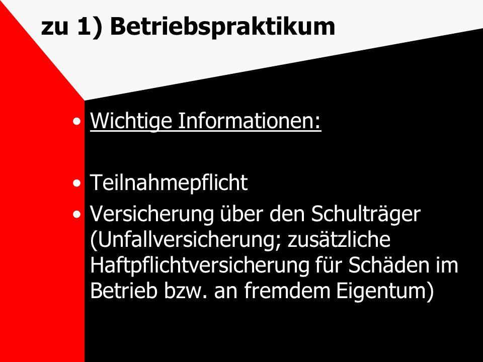zu 1) Betriebspraktikum