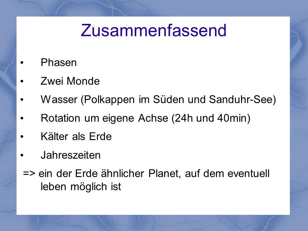 Zusammenfassend Phasen Zwei Monde