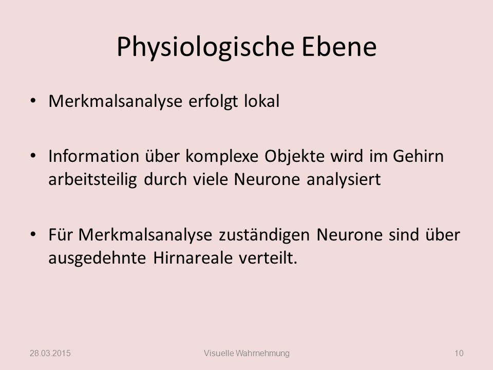 Physiologische Ebene Merkmalsanalyse erfolgt lokal