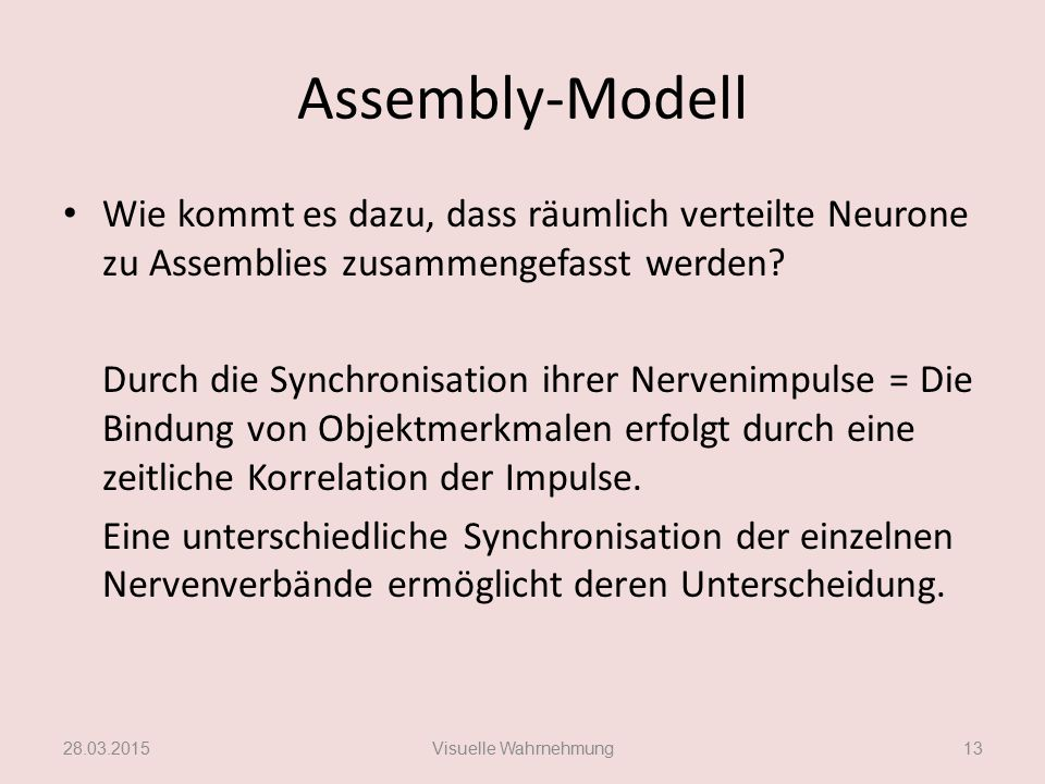 Assembly-Modell Wie kommt es dazu, dass räumlich verteilte Neurone zu Assemblies zusammengefasst werden