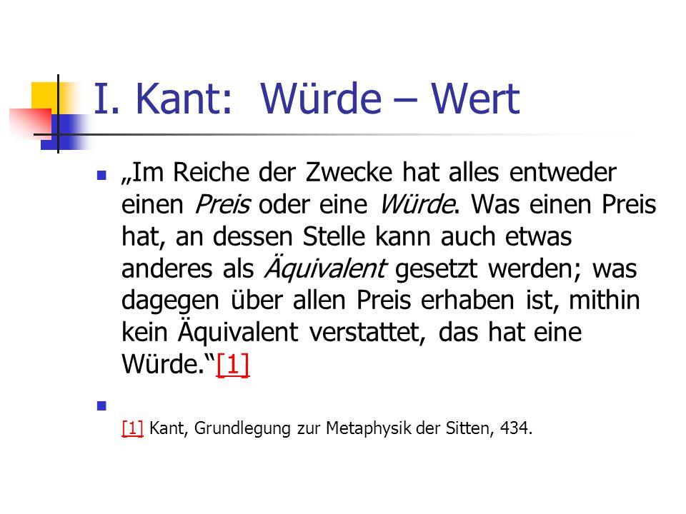I. Kant: Würde – Wert