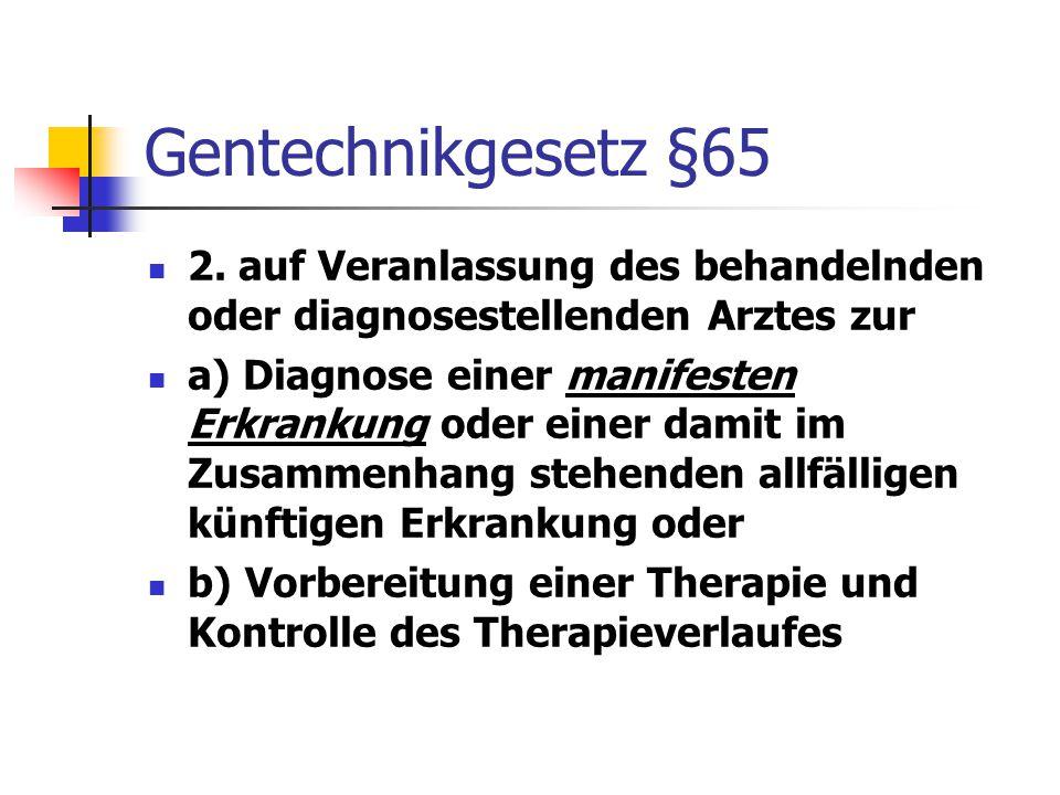 Gentechnikgesetz §65 2. auf Veranlassung des behandelnden oder diagnosestellenden Arztes zur.