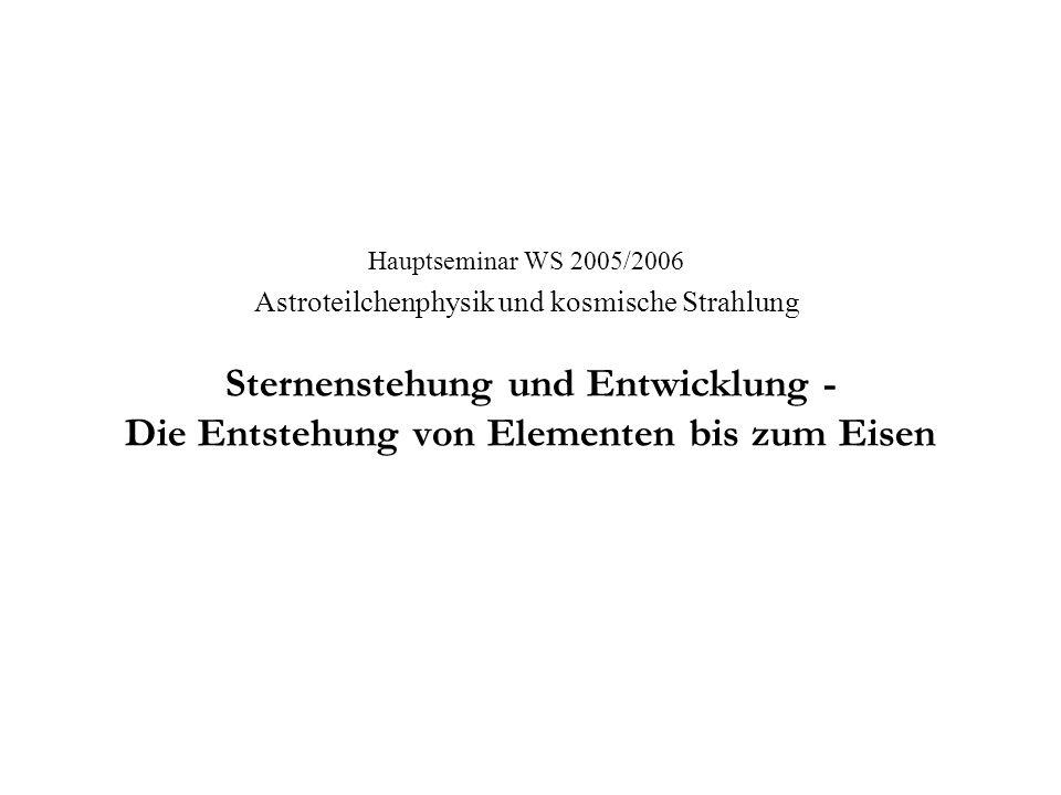 Hauptseminar WS 2005/2006 Astroteilchenphysik und kosmische Strahlung