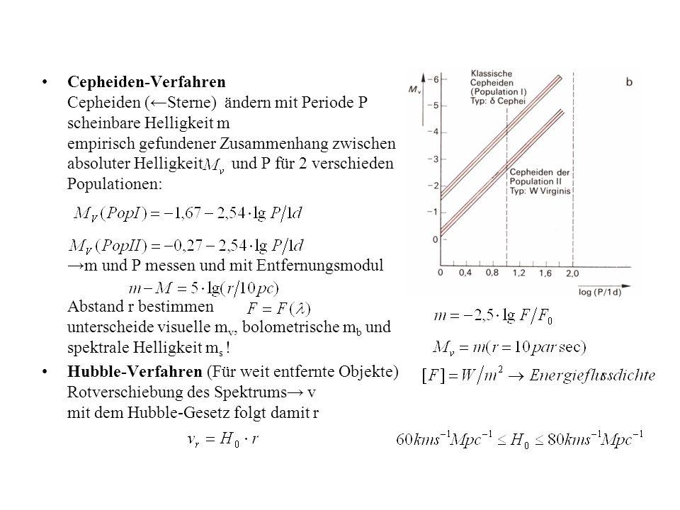 Cepheiden-Verfahren Cepheiden (←Sterne) ändern mit Periode P scheinbare Helligkeit m empirisch gefundener Zusammenhang zwischen absoluter Helligkeit und P für 2 verschieden Populationen: →m und P messen und mit Entfernungsmodul Abstand r bestimmen unterscheide visuelle mv, bolometrische mb und spektrale Helligkeit ms !