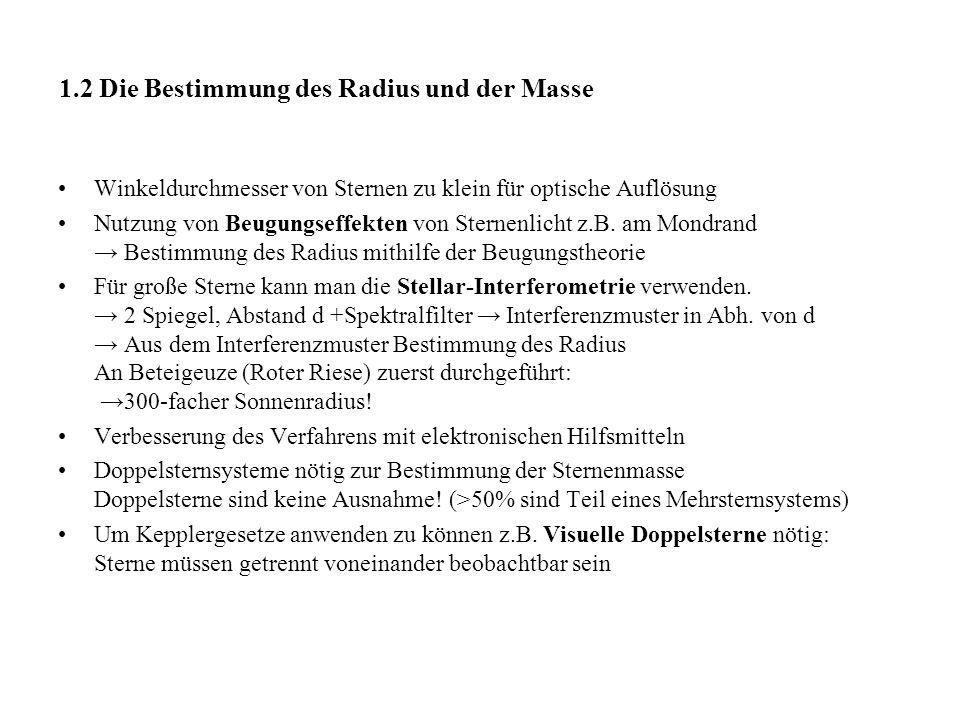 1.2 Die Bestimmung des Radius und der Masse