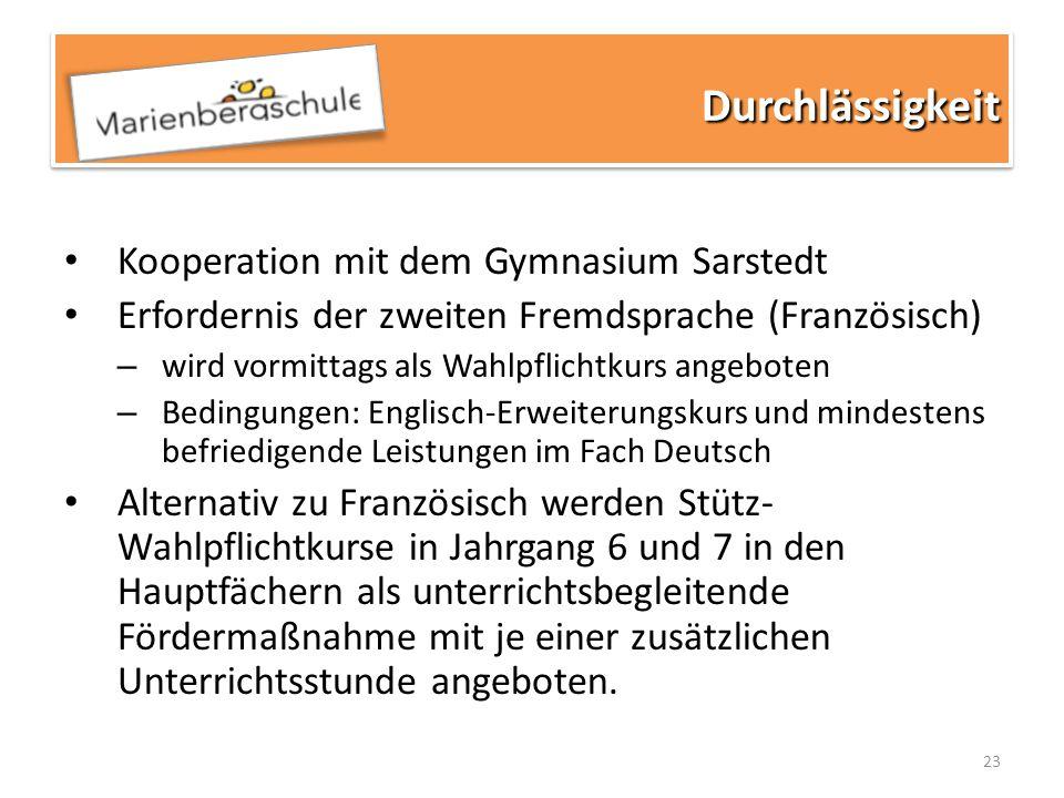 Durchlässigkeit Kooperation mit dem Gymnasium Sarstedt
