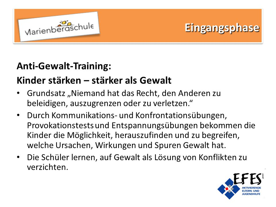 Eingangsphase Anti-Gewalt-Training: