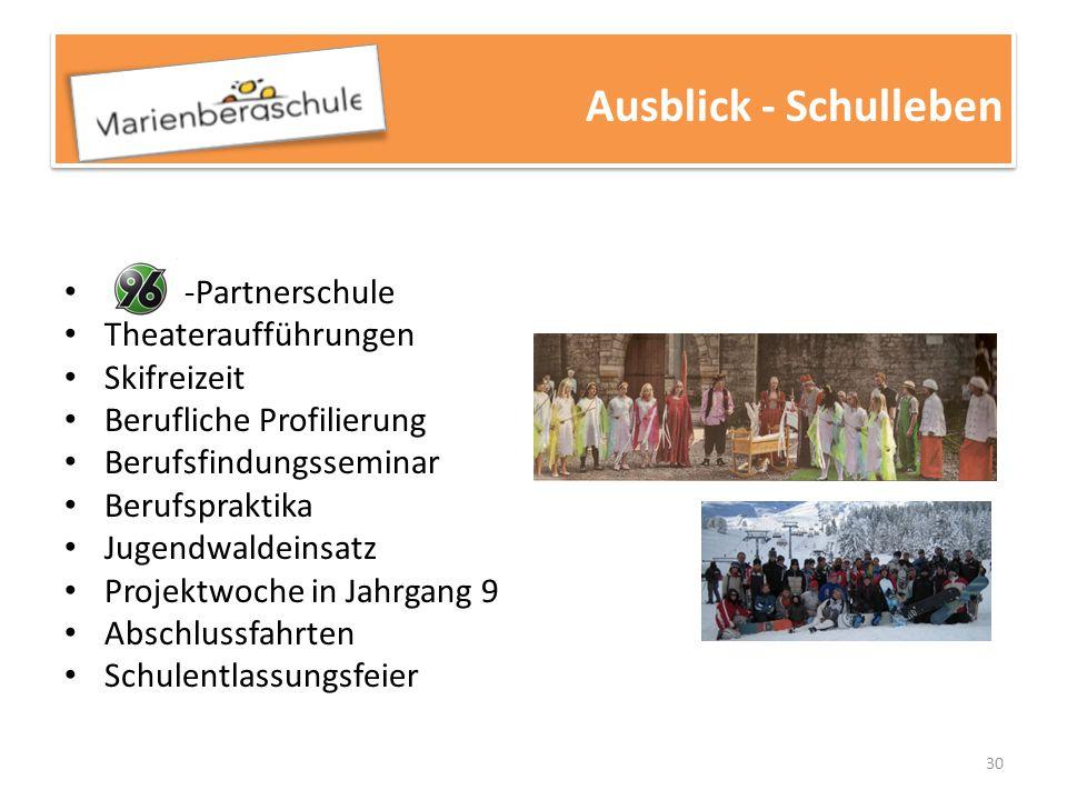 Ausblick - Schulleben -Partnerschule Theateraufführungen Skifreizeit