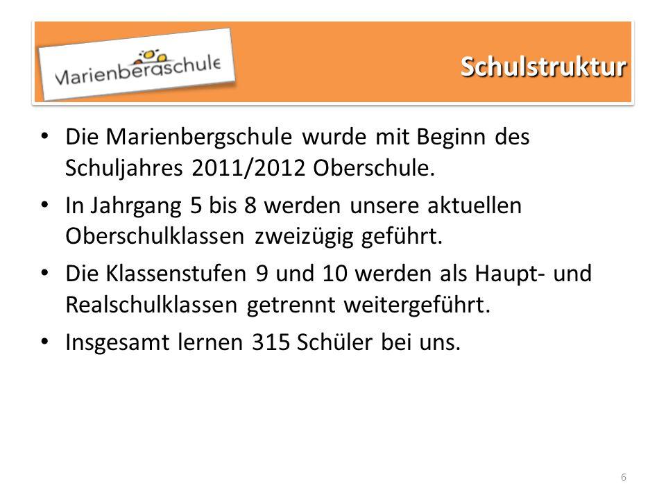 Schulstruktur Die Marienbergschule wurde mit Beginn des Schuljahres 2011/2012 Oberschule.