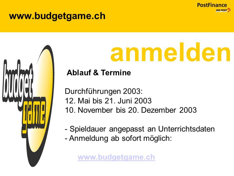 anmelden www.budgetgame.ch Ablauf & Termine Durchführungen 2003: