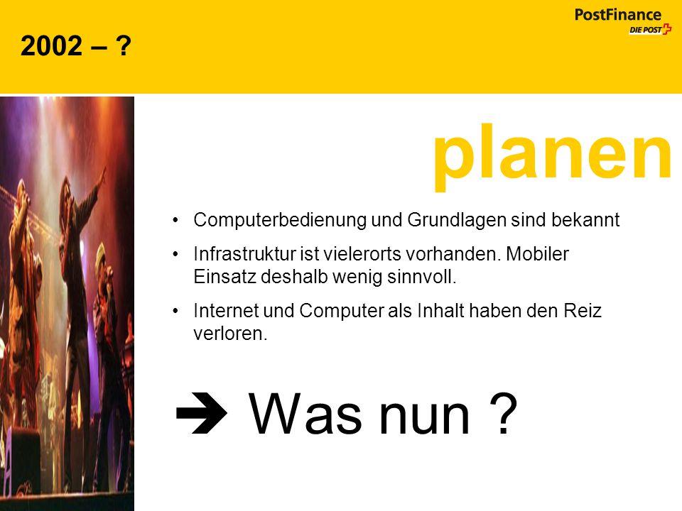 2002 – planen. Computerbedienung und Grundlagen sind bekannt. Infrastruktur ist vielerorts vorhanden. Mobiler Einsatz deshalb wenig sinnvoll.