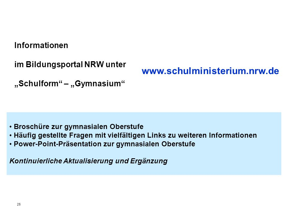 """Informationen im Bildungsportal NRW unter """"Schulform – """"Gymnasium"""