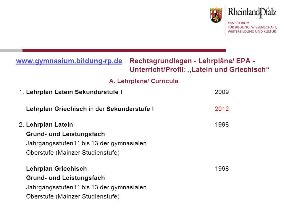 A. Lehrpläne/ Curricula