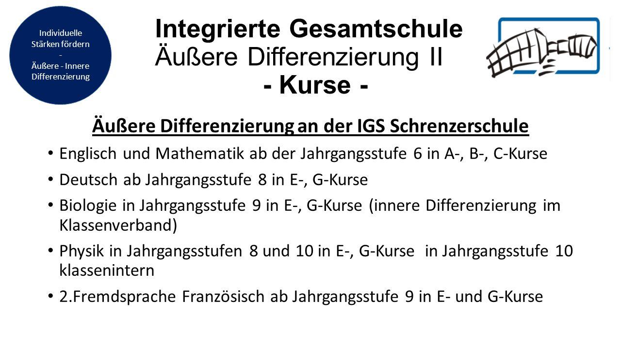 Integrierte Gesamtschule Äußere Differenzierung II - Kurse -