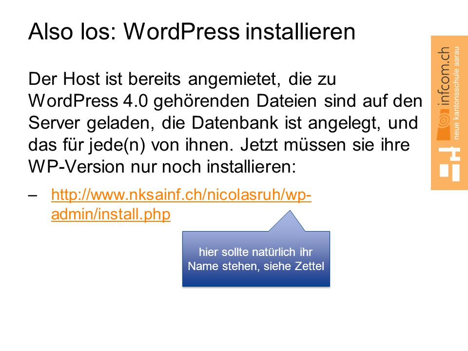 Also los: WordPress installieren