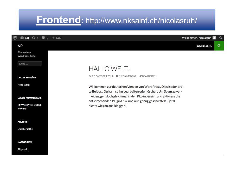 Frontend: http://www.nksainf.ch/nicolasruh/