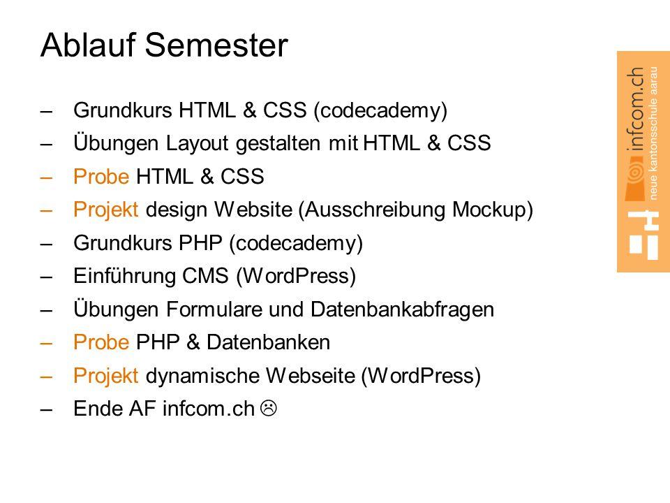 Ablauf Semester Grundkurs HTML & CSS (codecademy)