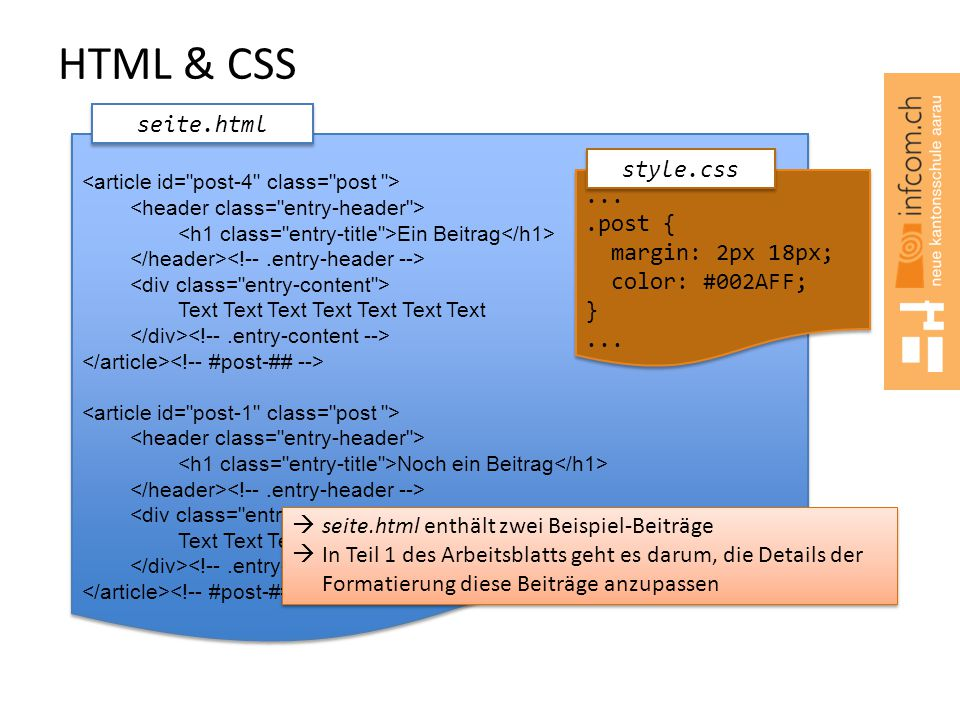 HTML & CSS seite.html style.css ... .post { margin: 2px 18px;