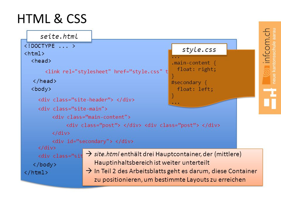 HTML & CSS seite.html. <!DOCTYPE ... > <html> <head> <link rel= stylesheet href= style.css type= text/css />