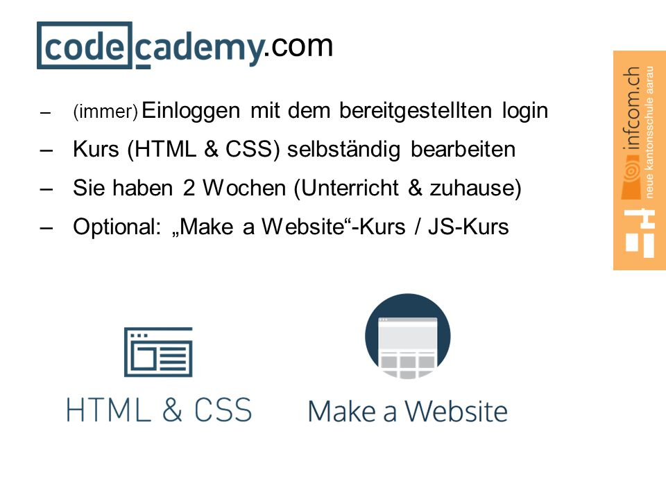 .com Kurs (HTML & CSS) selbständig bearbeiten