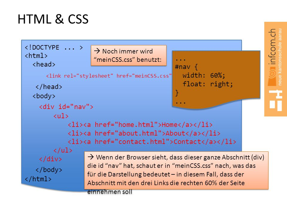 HTML & CSS <!DOCTYPE ... > <html> <head> <link rel= stylesheet href= meinCSS.css type= text/css />