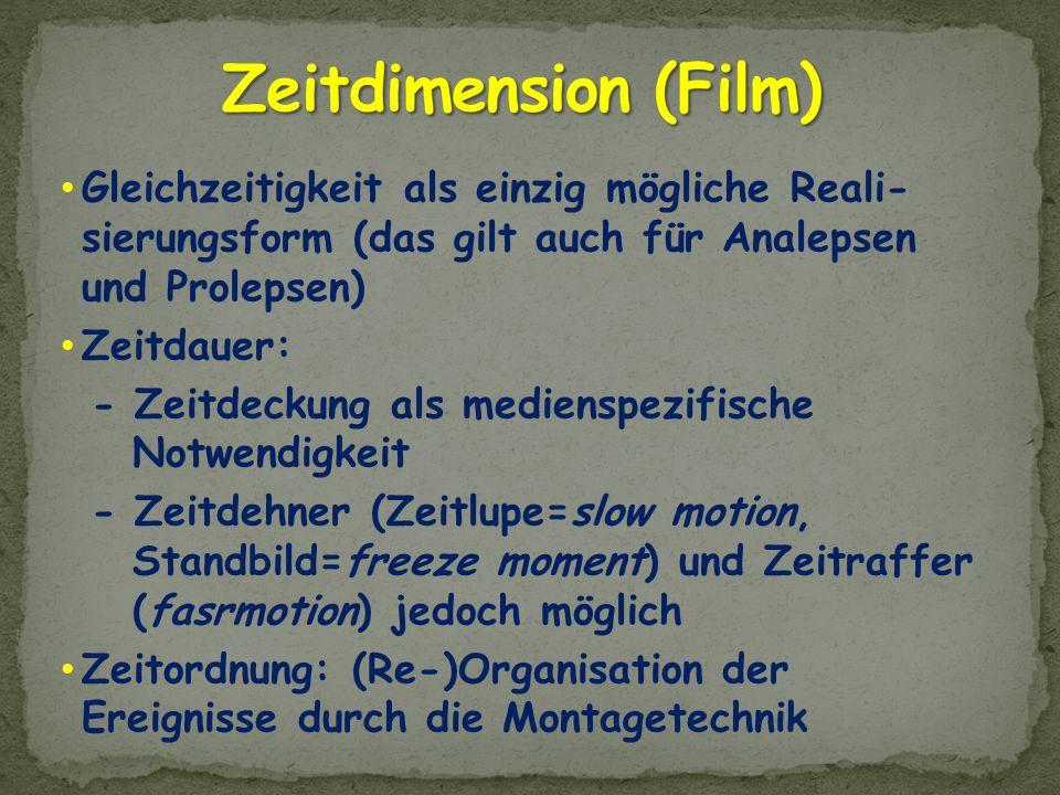 Zeitdimension (Film) Gleichzeitigkeit als einzig mögliche Reali- sierungsform (das gilt auch für Analepsen und Prolepsen)