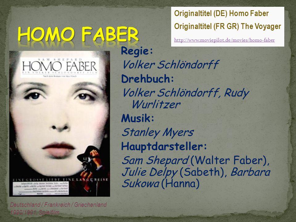 HOMO FABER Originaltitel (DE) Homo Faber. Originaltitel (FR GR) The Voyager. http://www.moviepilot.de/movies/homo-faber.